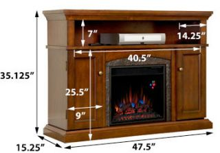 Lynwood 18 Vintage Cherry Media Console Electric Fireplace Cabinet
