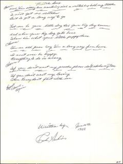 Carl Perkins Autograph Lyrics Signed 06 10 1955