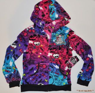 New Girls Monster High Velour Soft Hoody Jacket sweat Shirt Pullover