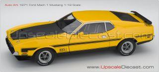 18 Autoart 1971 Ford Mach 1 Fastback Yellow New in Box Free USA