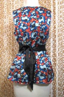 by Jodi Arnold Colorful Floral Print Silk Tie Back Blouse Shirt sz M