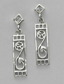 Mackintosh Art Nouveau Style Silver Post CZ Earrings