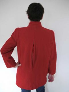 Vtg 80s Wool 3 4 Mackintosh Swing Pea Coat Jacket Red 4