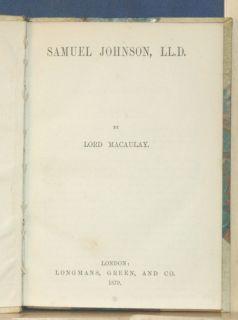 1879 Samuel Johnson Lord Macaulay Warren Hastings
