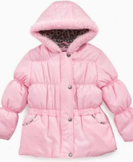 Pink Platinum Kids Jacket, Little Girls Leopard Print Puffer Coat