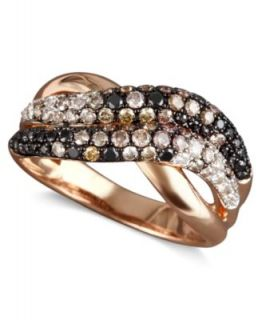 EFFY Collection 14k Rose Gold Ring, Black, Champagne and White Diamond