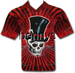 New Mad Hatter Skull Biker Shirt Dragonfly XL