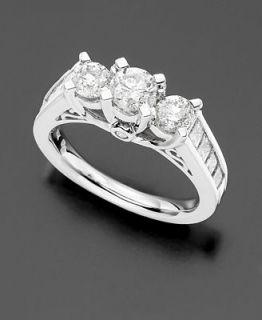 14k White Gold Three Stone Diamond Ring (2 ct. t.w.)