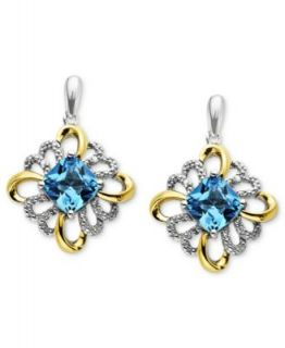 14k Gold and Sterling Silver Earrings, Blue Topaz Cushion Cut Drop