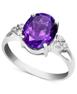 14k White Gold Ring, Amethyst (2 1/3 ct. t.w.) and Diamond Accent Oval