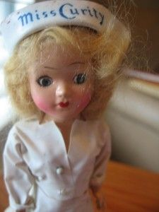 Vintage 7 Miss Curity Nurse Doll Blonde Mohair Sleep Eyes Metal