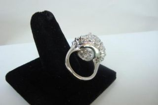 Vtg. Jolie Gabor Sterling Silver Domed Cocktail Ring With Crystal