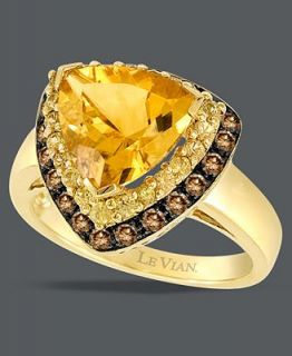 Le Vian 14k Gold Ring, Chocolate Diamond (3/8 ct. t.w.) and Citrine (3