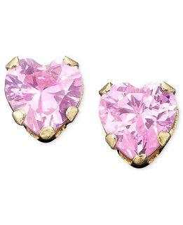 Childrens 14k Gold Pink Cubic Zirconia Earrings   Kids Jewelry