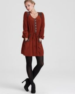 Madison Marcus New Orange Silk Long Sleeves Button Front Casual Dress