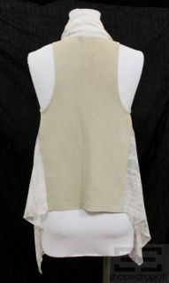 Maggie Ward Tan Leather Grey Tie Dye Silk Open Front Vest Size XS