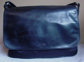 Longchamp Paris Leather Nylon Briefcase Messenger Laptop Computer Bag