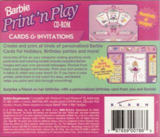 Barbie Print N Play Cards Invitations PC CD Create Holiday Birthday