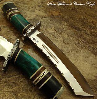 Steve William 1 of A Kind Custom Machete Bowie Knife O1 Tool Steel