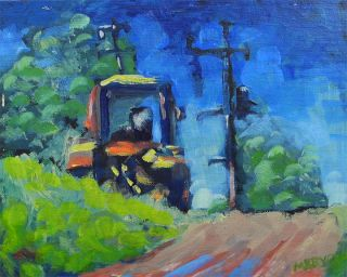 Original Oil Painting Machinery Impressionism on Canvas Panel