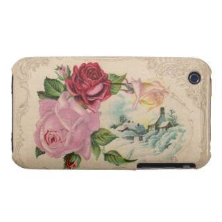 Vintage Winter Roses 3G iPhone Casement Case iPhone 3 Covers