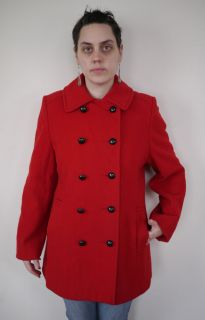 Vintage MACKINTOSH 100% Wool Bright Red Navy Peacoat Womens Pea Coat