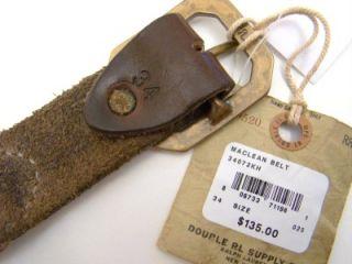 RRL Ralph Lauren Brown MacLean Leather Canvas Belt 34