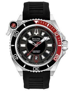 Bulova Watch, Mens Precisionist Sport Black Rubber Strap 49mm 98B166