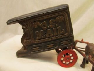 VINTAGE CAST IRON TOY 3 DUMP TRUCK U.S. MAIL CART HORSE RACE BANK