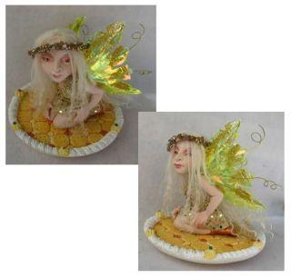 Majella OOAK Fairy on Cookie Tray Fairies Art Doll Christmas Figurine