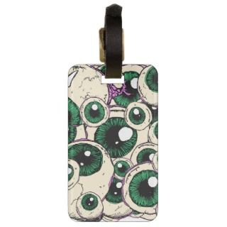 Halloween green Eye Balls & purple flesh Bag Tag