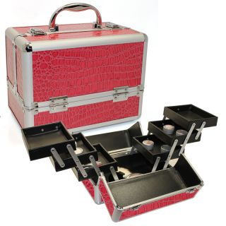 Makeup Train Cosmetic Case Kit Box Bag w/ 6 Extendable Trays Organizer