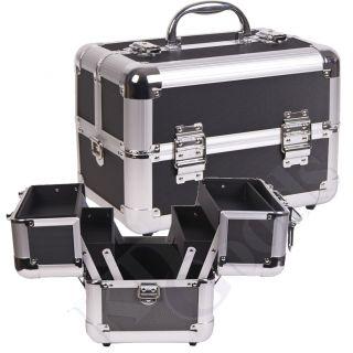 Makeup Accessories Cosmetic Organizer Black Dot Aluminum Train Case