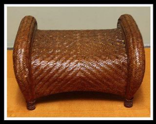 Pottery Barn Wicker Rattan Malabar Footstool Ottoman Modern Foot Stool