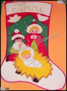 Vintage Malina Nativity Felt Christmas Stocking Kit