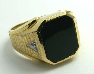 Elegant Black Onyx Diamond Gold Mens Ring