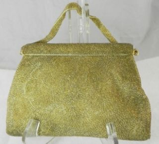 Vintage Gold Hand Beaded Purse Evening Bag Magid Japan
