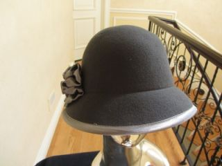 Ladies Womans Charcoal Gray Cloche Bucket Felt Hat w Satin Bow and