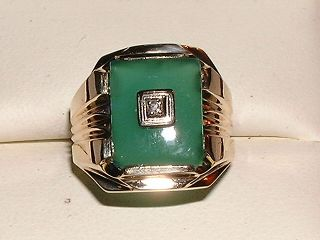 Vintage 10K Gold Chrysoprase and Diamond Mens Ring
