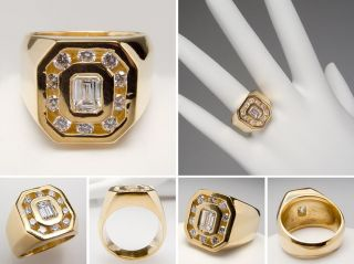 Vintage Mens Diamond Pinky Ring vs Emerald Cut Solid 18K Gold Jewelry