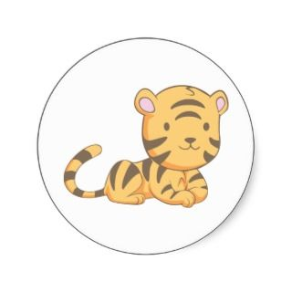 Custom Cute Smiling Cartoon Baby Tiger Cub Stickers