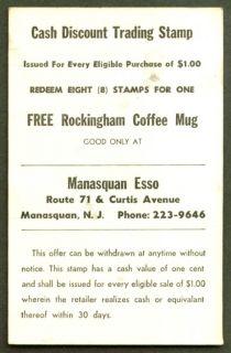 Manasquan Esso Free Rockingham Coffee Mug Card NJ 50s