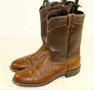 Larry Mahan Brown Two Tone Leather Ostrich Skin Western Cowboy Boots