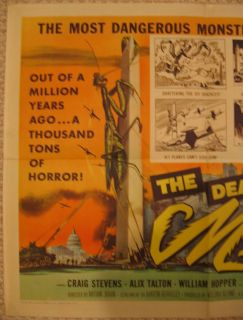 THE DEADLY MANTIS ORIGINAL U.S. 1/2 SHEET MOVIE POSTER 1957 MONSTER