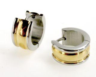 Gold 18k GF   Stainless Steel Earrings Small Hoop Huggie Wide 10mm