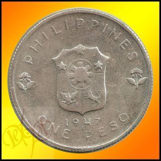 Philippines 1 Peso 1947 Douglas McArthur Silver Coin UNC