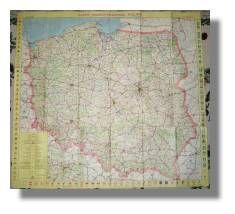 1981 Polska Mapa Samochodowa Polish Road Map