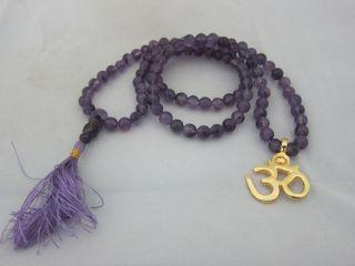 Amethyst Full Rosary Mala Spiritual Yoga Meditation Japamala 108 1OM