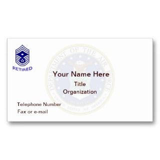 Air Force Chief Master Sgt. Retired Business Card