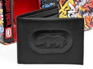 New $35 Marc Ecko Unltd Mens Black Genuine Leather Bifold Logo Wallet